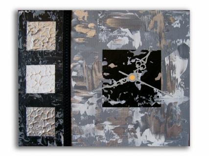 tableau peinture tableau horloge noir moderne tableau horloge noir et blanc gris. Black Bedroom Furniture Sets. Home Design Ideas