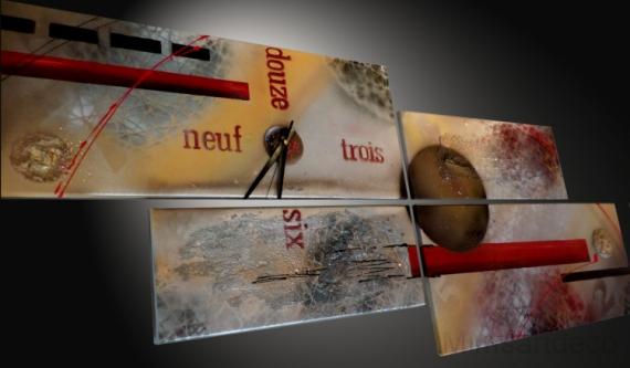 Tableau peinture tableau horloge peinture moderne tableau for Tableau art contemporain design decoration