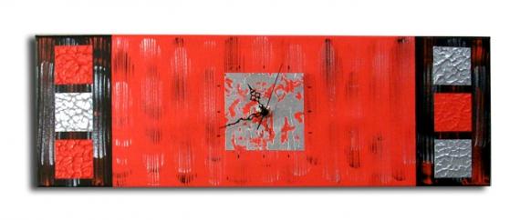 Horloge En Verre Design : Tableau peinture horloge pendule rouge