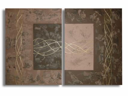 tableau peinture tableau marron diptyque marron dor tableau diptyque filaments. Black Bedroom Furniture Sets. Home Design Ideas