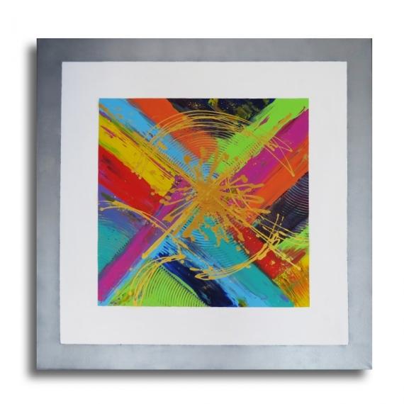 TABLEAU PEINTURE tableau moderne coloré carré - Tableau \