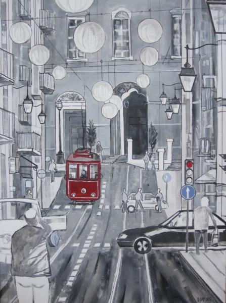 TABLEAU PEINTURE tableau monochrome g tableau tram lisboa peinture deco achat tableau moderne ...