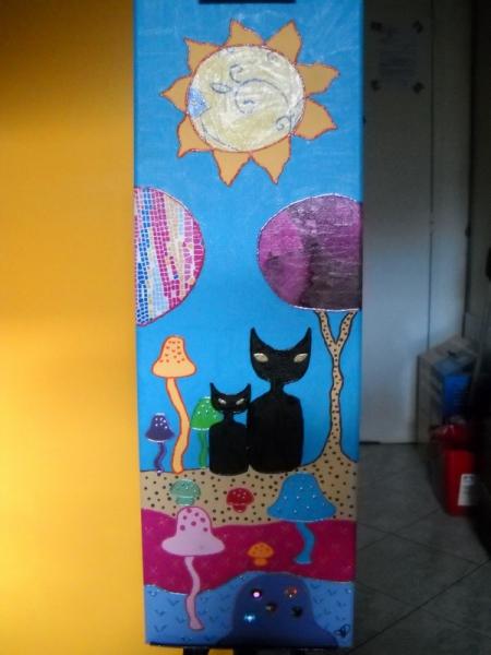 Acrylique Chats Art Naif