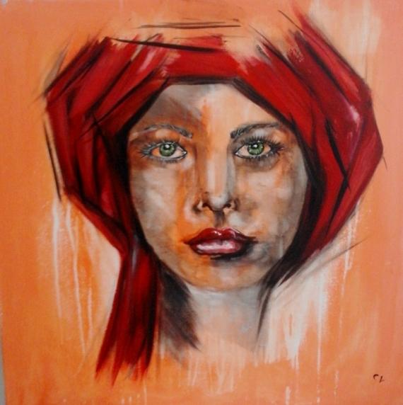 tableau peinture tableau portrait femme femme au turban. Black Bedroom Furniture Sets. Home Design Ideas