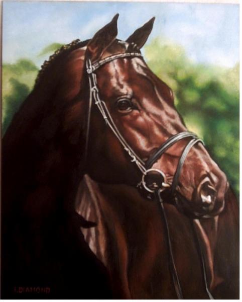 Super TABLEAU PEINTURE tableau réalisme animalier - Le cheval de course KP72