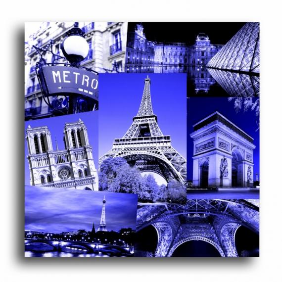 tableau peinture tableau toile paris bleu tableau toile paris eiffel design bleu electrique noir. Black Bedroom Furniture Sets. Home Design Ideas