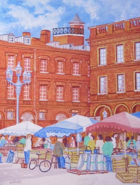 Tableau peinture tableau toulouse place du capitole cadeau acheter table acha - Acheter tableau peinture ...