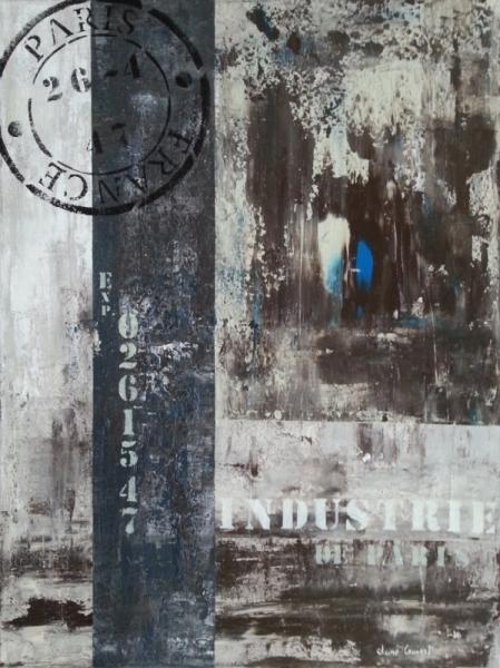 Tableau peinture tableau vintage moderne dco industrie de paris - Peinture bleu vintage ...