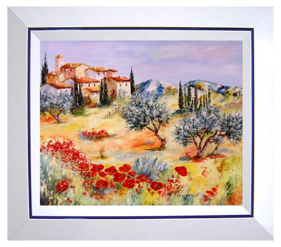 tableau peinture tableaux de provence hameau coquelicots paysage de provence peintres de. Black Bedroom Furniture Sets. Home Design Ideas