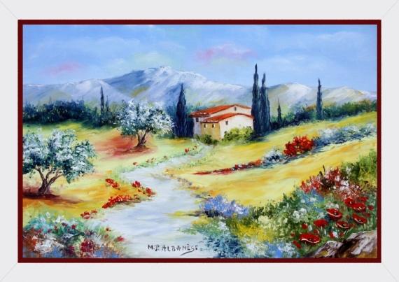 tableau peinture tableaux de provence oliviers et coquelic paysage de provence peintres de. Black Bedroom Furniture Sets. Home Design Ideas