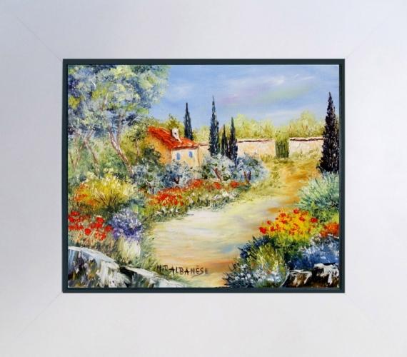 tableau peinture tableaux de provence paysage de provence jardin oliviers coq peintres de. Black Bedroom Furniture Sets. Home Design Ideas