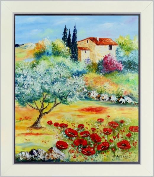 tableau peinture tableaux de provence paysage de provence oliviers coquelicot ballade au. Black Bedroom Furniture Sets. Home Design Ideas