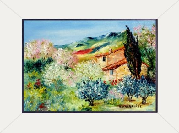tableau peinture tableaux de provence paysage de provence oliviers pommiers peintres de. Black Bedroom Furniture Sets. Home Design Ideas