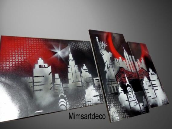 Tableau moderne de new york en noir et blanc pont de - Peinture noir et blanc moderne ...