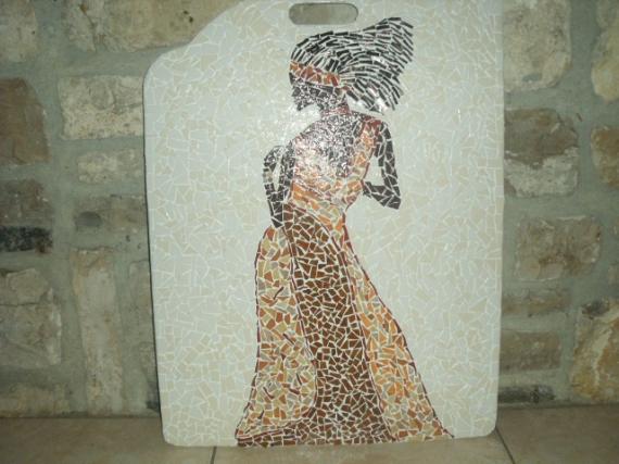 Tableau peinture tableaux mosaique deco afrique femme for Peinture mosaique