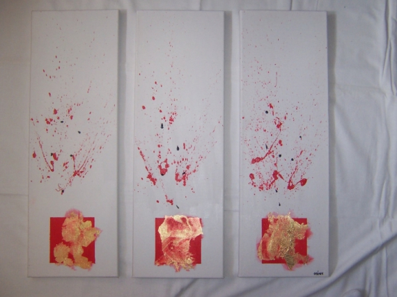 tableau peinture tache rouge or blanc tryptique or. Black Bedroom Furniture Sets. Home Design Ideas