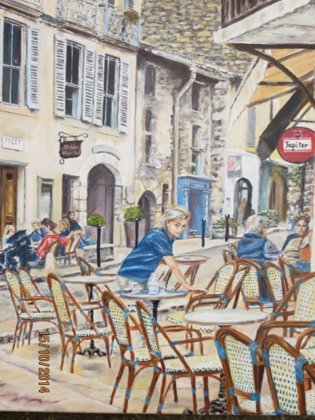 tableau peinture terrasse cafe rue lourmarin en terrasse a lourmarin. Black Bedroom Furniture Sets. Home Design Ideas