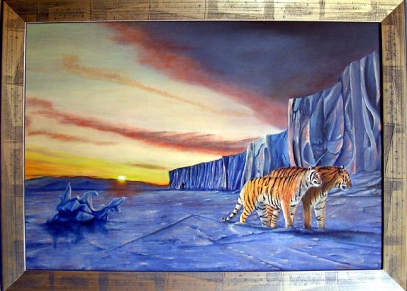 Tableau peinture tigres paysage reve onirisme ailleurs - Creation tableau photo ...