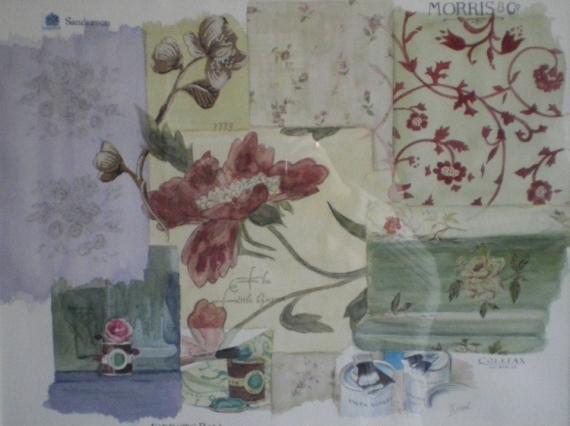 Tableau peinture tissus anglais papiers peints angla - Tissus d ameublement anglais ...