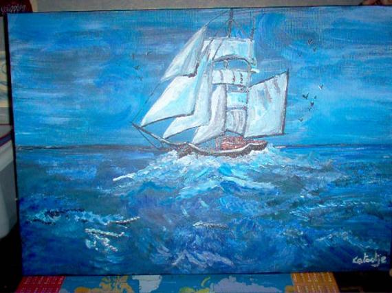 Tableau peinture toile bateau mer bleu navigation for Peinture bleu marine
