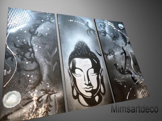 tableau toile bouddha zen peinture abstrait p