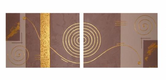 tableau peinture toile marron dor moderne tableau tourbillon. Black Bedroom Furniture Sets. Home Design Ideas