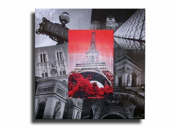 Tableau peinture toile moderne paris design tableau toile collage photos pa - Tableau ikea noir et blanc ...