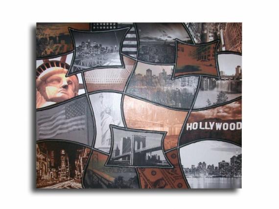 Tableau peinture toile new york marron gris tableau new - Tableau toile new york ...