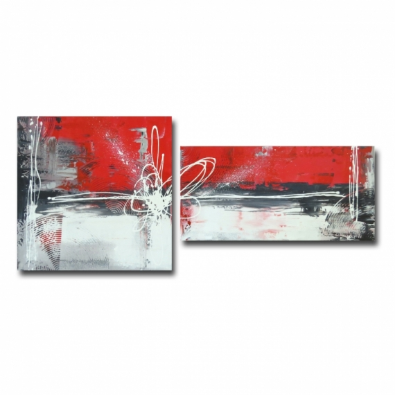Tableau peinture toile rouge moderne design tableau diptyque toile rouge gris noir blanc art - Peinture gris rouge ...