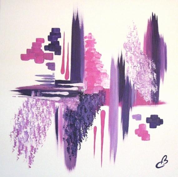 tableau toile zen rose violet abstrait acrylique fragrance p