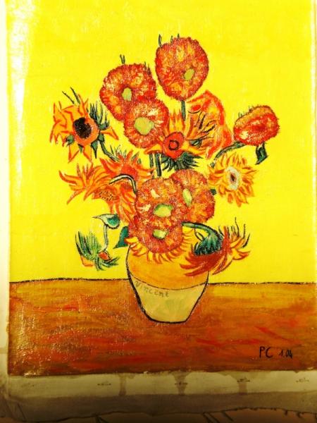 Tableau peinture tounesols sunflowers van gogh van gogh tournesols vendu - Peinture a l huile van gogh ...