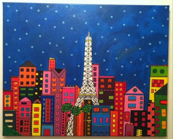 tableau peinture tour eiffel paris ville buildings colorful paris by night. Black Bedroom Furniture Sets. Home Design Ideas
