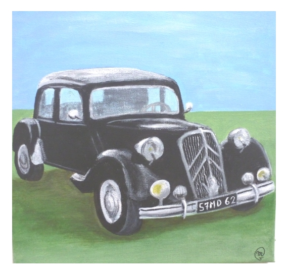 tableau peinture traction voiture ancienne noir citroen la traction. Black Bedroom Furniture Sets. Home Design Ideas