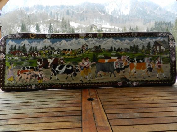 Tableau peinture transhumance costumes anciens montagne vache poya l 39 ancienne for Peinture a l ancienne