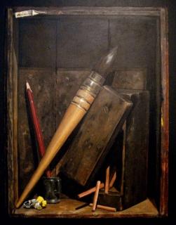 Tableau peinture trompe l 39 oeil la bo te au pinceau - Tableau trompe l oeil ...