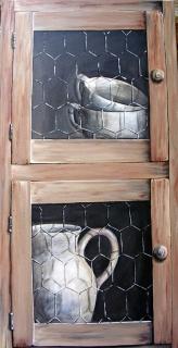 tableau peinture trompe l oeil pot blanc porte vaisselle blanche. Black Bedroom Furniture Sets. Home Design Ideas