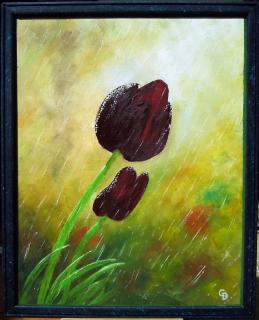 tableau peinture tulipes pluie fleurs peinture a l 39 huile tulipe noire. Black Bedroom Furniture Sets. Home Design Ideas