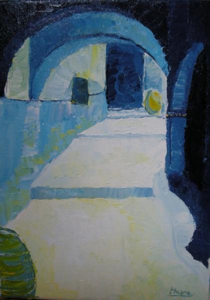 tableau tunisie peinture villes lhuile ruelle djerba p