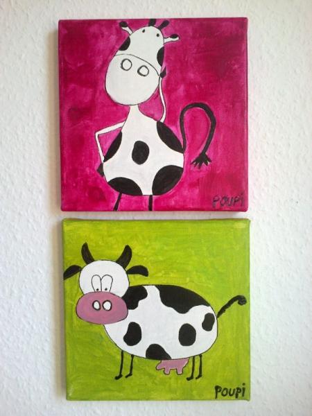 tableau peinture vache enfant art dco rigolo vachettes. Black Bedroom Furniture Sets. Home Design Ideas