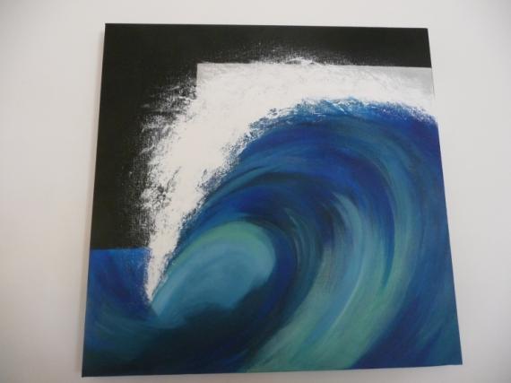 Tableau peinture vague ocan mer bleu je dis vague - Peinture effet profondeur ...
