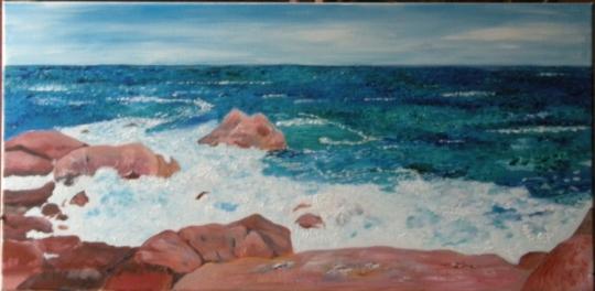TABLEAU PEINTURE vagues écume mer rochers  côte de granit