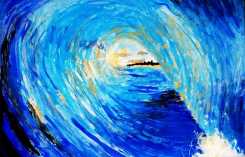 Tableau peinture vagues surf passion nature barrel - Peinture bois sur fer ...