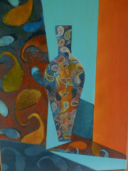 Tableau peinture vase orange bleu cachemire le vase aux - Couleur cachemire peinture ...