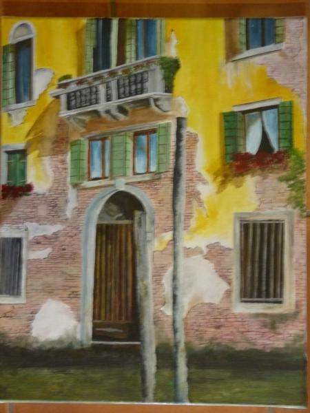 Tableau peinture venise italie gondole maison faade for Peinture acrylique maison
