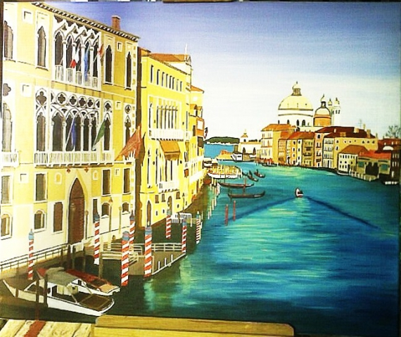 tableau peinture venise italie paysage ville venise saint georges. Black Bedroom Furniture Sets. Home Design Ideas