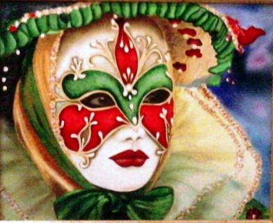 Tableau peinture venise masque italie vert personnages peinture a l 39 huile carnaval venise - Masque a peinture ...