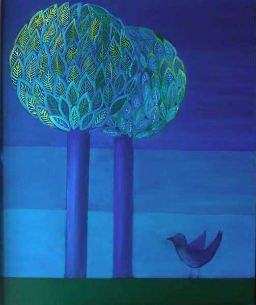 tableau peinture vert bleu oiseau arbre l 39 oiseau bleu. Black Bedroom Furniture Sets. Home Design Ideas