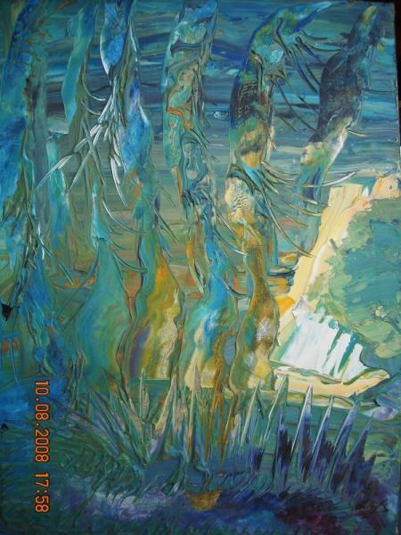 Tableau peinture vert tons sous l eau marine creatif for Peinture vert deau