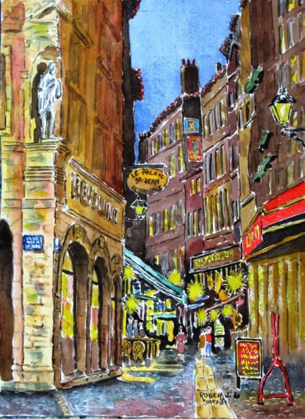 Line St Jean Art Et Design : Tableau peinture vieilles rues nocturne au quartier st