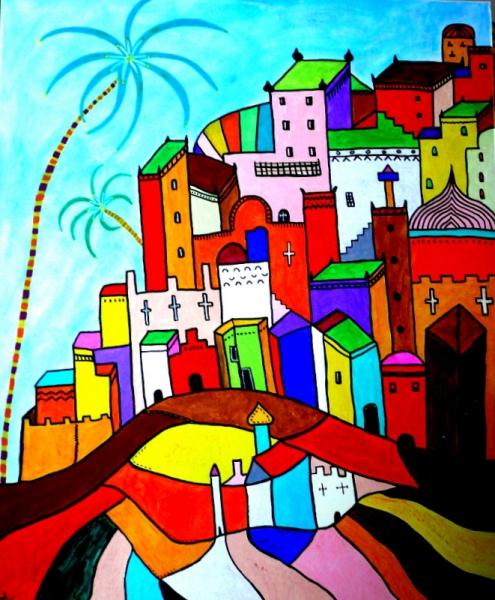 Tableau peinture village achat tableau exotisme naf - Photo d art grand format ...